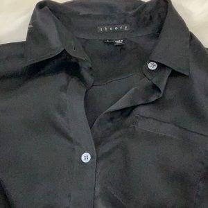 Theory black silk blouse size p